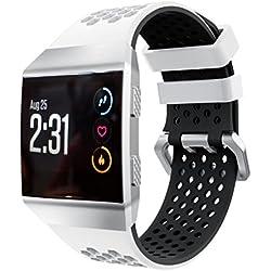 VNEIRW - Correa de reloj inteligente para Fitbit Ionic, ligera, de silicona, perforada, correa de repuesto, blanco