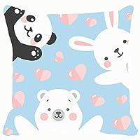 Home fashion pillowcase Sofa cushion panda rabbit teddy bear print animals wildlife baby Animals Wildlife 18x18 IN
