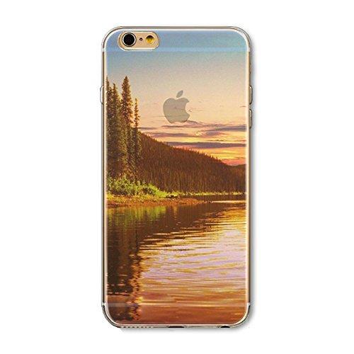 Coque iPhone 5 5s Housse étui-Case Transparent Liquid Crystal en TPU Silicone Clair,Protection Ultra Mince Premium,Coque Prime pour iPhone 5 5s-Paysage-style 5 15