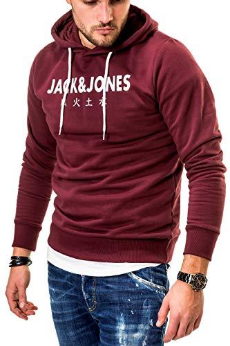 JACK & JONES Herren Hoodie Kapuzenpullover Sweatshirt (Large, Port Royale/Elements)