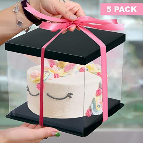 5er Set Quadratische Torten Ausstellung Box Kuchenbehälter aus Transparentem Kunststoff und Schwarzem Karton von Kurtzy - 24,5 x 18cm Bäckerei Kuchen-Transportbox mit Deckel, Tortenbehälter für Kuchen