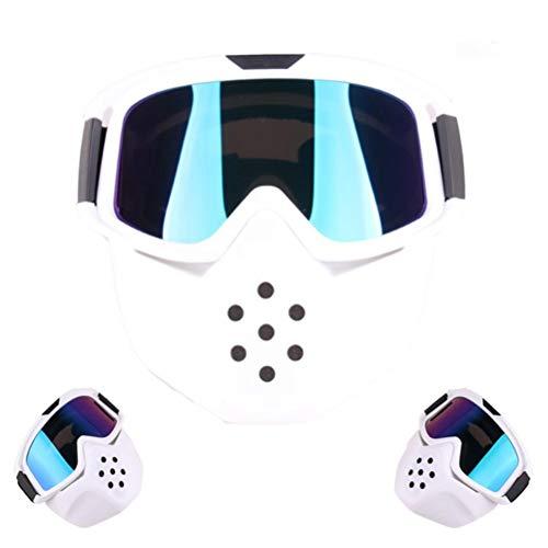 Motorradbrille für Erwachsene UV-Schutz Winddicht Sanddicht Explosionsgeschützt Einstellbar Mit Maske Abnehmbare Schutzbrille für Jethelm