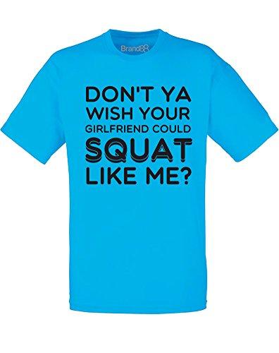 Brand88 - Squat Like Me, Mann Gedruckt T-Shirt Azurblau/Schwarz