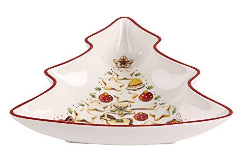 Villeroy & Boch Winter Bakery Delight Petite coupelle en forme de sapin, Porcelaine Premium, Blanc/Rouge/Beige