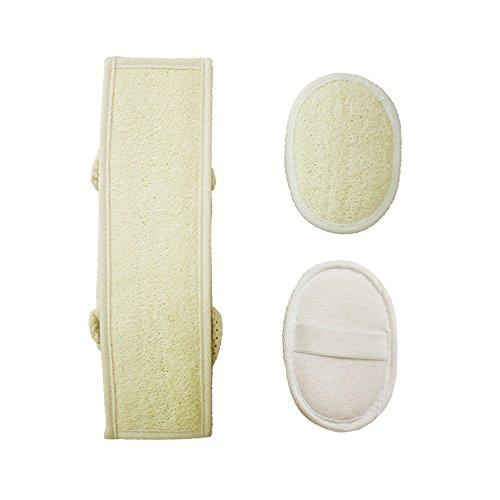 Loofah Exfoliating Back Scrubber para ducha, doble lado de scrubbing correa, baño de cuerpo esponja con Luffa 100% natural, lavadora de espalda para hombres y mujeres (3 piezas de un conjunto)