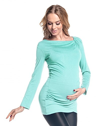 Happy Mama. Damen Umstands Long-Top Tunika Jersey Oberteil für Schwangere. 941p Minze
