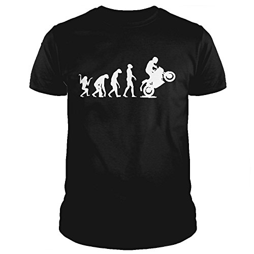 EV0002U Maglietta T-Shirt Uomo Evolution Motorcycle Moto Motocross Rider Humor Divertente Estate (S, Nero)