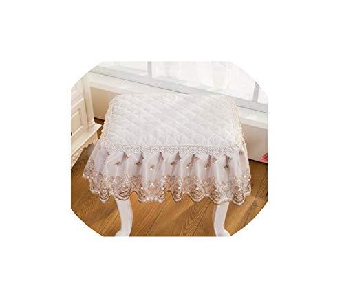 Moily Fayshow Klassische Spitze quadratischen Hocker Abdeckung Blumenklavierstuhlabdeckung Make-up Stuhl Abdeckung, 1, Platz 30x30cm