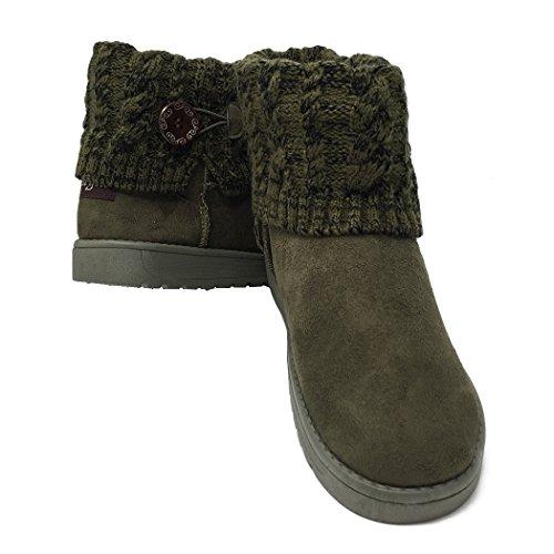 Summer Mae Damen Winterstiefel Schneestiefel Gefüttert Warm Boots Klassisch Strick-Design Dunkelgrün