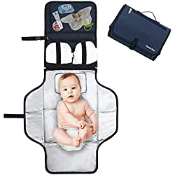 Pomelo best Cambiador portatil de pañales para bebe Impermeable | Kit Cambiador Bebe Viaje | Esterilla Lavable de Quita y Pon | Perfecto para Usar Fuera de Casa (Azul)
