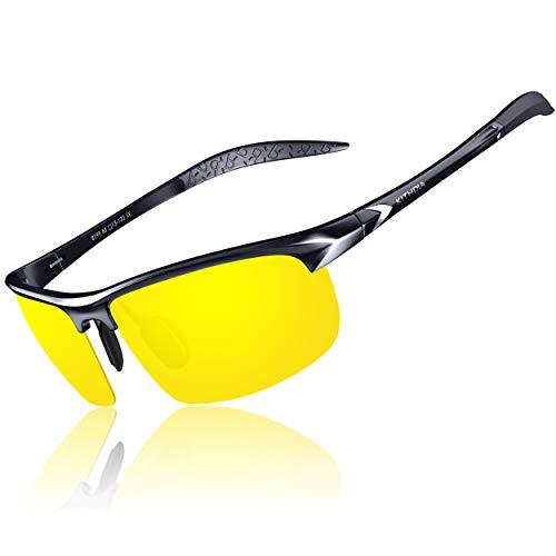 KITHDIA Herren Polarisierte Sonnenbrille Aluminium Magnesium Rahmen Auto Fahren Sonnenbrille (Gelb/Schwarz)