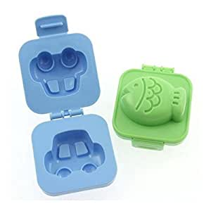 St.Millers Hard Boiled Eggs Into Fish Or Car Shapes Egg Mould, 2Pcs,Yellow&Blue