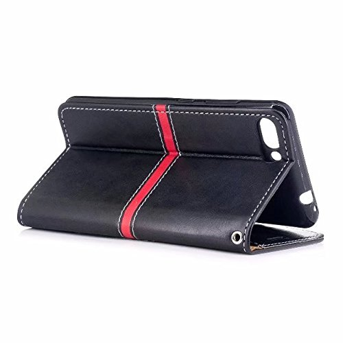 EKINHUI Case Cover Echtes Qualitäts-elegantes PU-Leder-Schlag-Standplatz-Fall-Abdeckung mit Lanyard und Kartenschlitzen für Asus Zenfone 4 MAX ZC554KL ( Color : Red ) Black
