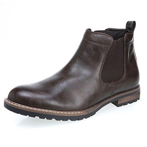 Mforshop scarpe uomo stivaletto tronchetto eco pelle boots elastico chelsea y28 (41, marrone)