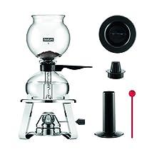 Bodum K1218-16 Pebo Vacuum Coffee Maker with Burner and Accessories, Black, Glass
