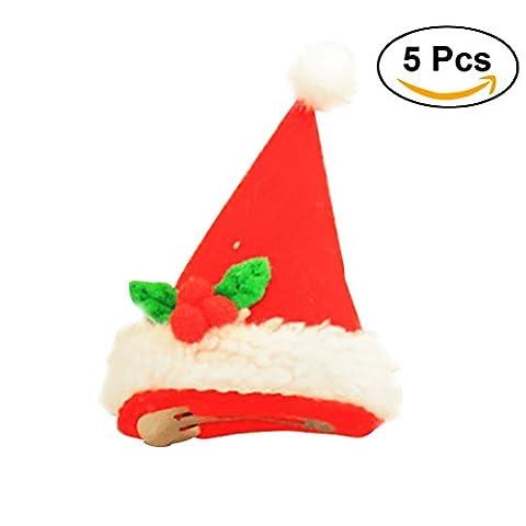 Tinksky 5PCS Nouveauté LED Light Up Christmas Hat Clip de cheveux Fun Xmas Accessoires Cadeau d'anniversaire de Noël pour les amis (Tricorne)