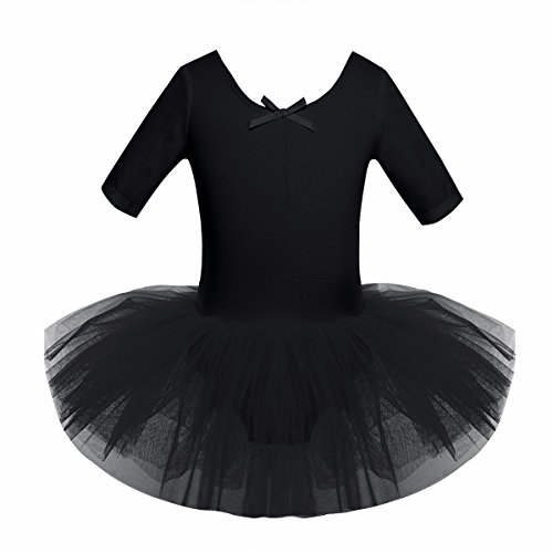 iiniim Girls' Half Sleeve Tulle Ballet Dresses Dance Leotard Tutu Skirt Costumes