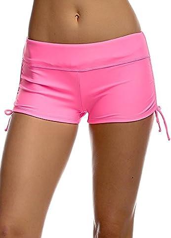 Ladies Adjustable Drawstring Mini Swim Shorts Bikini Swimwear Boy Style Short Brief Bottoms