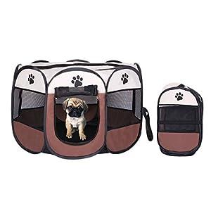 Welpenlaufstall/ Tierlaufstall/ Hundehütte/ Welpenauslauf/ Laufstall für Hunde/ Katzenhaus/ Wasserdichtes Zelt für Kleintiere wie Hunde, Katzen Größe M/L (73*73*43CM, Kaffee)