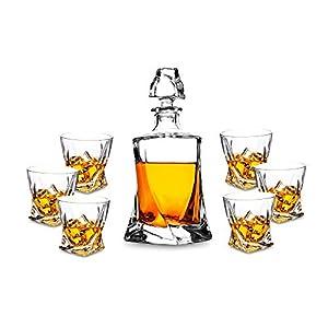KANARS 7-Teiliges Twist Whisky Set, 750ml Dekanter + 6 x 300ml WhiskyBecher, Hochwertige Qualität, Spülmaschinentauglicher