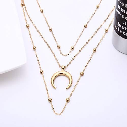 ZUXIANWANG Halskette Damen Mode Mond Anhänger 2-in-1-Halskette