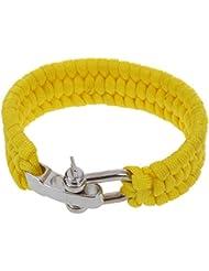 SODIAL(R)7 Strand survie Weave militaire Bracelet cordon Buckle - Jaune
