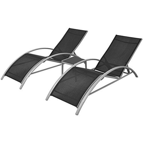 vidaXL Gartenliege Alu 3-tlg. Sonnenliege Saunaliege Liegestuhl Liege mit Tisch