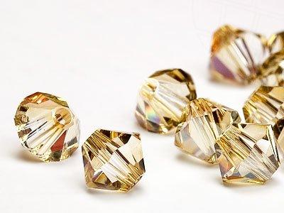 Glasperlen zum Auffädeln von Swarovski Elements Doppelkegel  6mm  (Crystal-Golden Shadow), 48 Stück - Bicone Swarovski 6mm Crystal