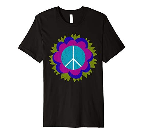Blumen-Power-Friedenszeichen-T-Shirt - lila Blumen-Weinlese