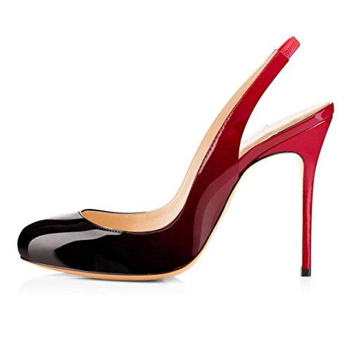 Damen Fashion Runde Toe Slip-on Pumps Hohe Absatz Stiletto Ohne Hacken Komfort Mehrfarbige Lady Schuhe Schwarz Und Rot