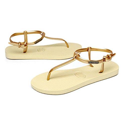 SHANGXIAN individualité semelle plate Sandales pour femmes Wedge Sandal yellow