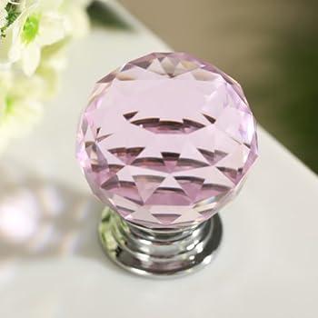 Revesun 4PCS/LOT Pink 40mm Crystal Glass Door Knobs Cabinet Pulls ...
