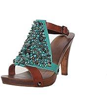 Zoccolo donna - Made In Italy - Sandali donna - artigianale -SilferShoes - Zoccolo in vero legno e pelle di camoscio, colore senape (38)