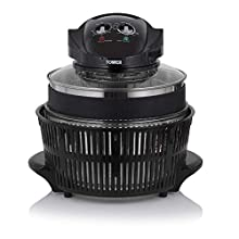 Tower T14001HT Halogen Airwave Low Fat Air Fryer, 1300 W, 12 Litre Capacity with Extender Ring, Black