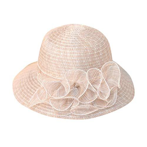 Preisvergleich Produktbild URIBAKY Frauen Strand Strohhut Jazz Sonnenschirm Panama Trilby Fedora Hut Gangster Cap