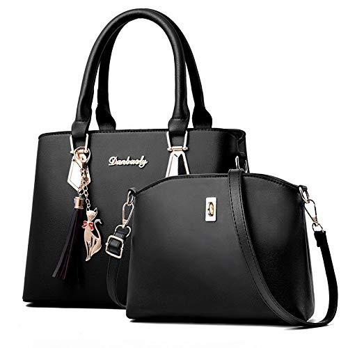 CHQArt- und Weiseeinfache Handtaschen-Damen-Schulter-Kuriertasche Zweiteiliges Schwarzes 30 * 13 * 21CM