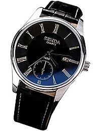86204d7e1119 Dilwe Reloj de Pulsera de Cuarzo para Pareja con Correa de Cuero Reloj a  Prueba de