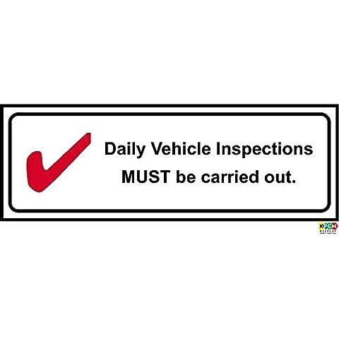 Vehículo diario inspecciones deberán realizarse muestra - Auto etiqueta adhesiva 150 mm x 50 mm