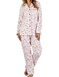 64945e3529 Slenderella Ladies Luxury Small Flower Print 160gsm 100% Soft Brushed  Flannel Cotton Button Up Long Sleeve Pyjamas…
