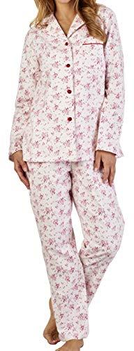 Slenderella Ladies Luxus Kleine rosa Blume Drucken 160gsm 100% weiche gebürstete Flanell-Baumwolle-Taste bis Lange Ärmel Pyjamas groß - Rose Flanell-pyjama