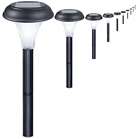 Set of 10 Solar Garden Lights. Transform Your Outdoor Spaces, Path, Flowerbeds, Borders & Drive. Easy NO WIRES install. All Weather & Waterproof. Stylish Design & 30cm Tall. 100% Money Back