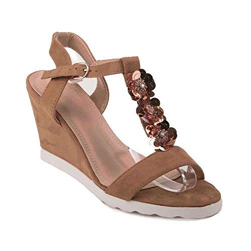 Sandales compensées camel ou grise en suédine petit talon & fleurs fantaisies- Camel