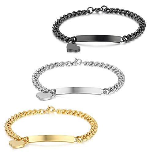 cs Damen Armband Edelstahl Panzerkette Charmsarmband Armkette mit Herz Anhänger, Schwarz Gold Silber ()