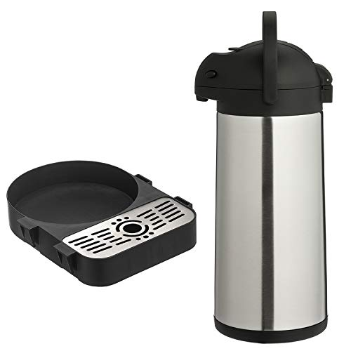 ONVAYA® Airpot Pumpkanne | Isolierkanne | Thermoskanne | Getränkespender | Edelstahl mattiert | Kaffeekanne | Doppelwandig (3 Liter + Tropfschale)