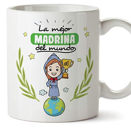 MUGFFINS Madrina Tazas Originales de café y Desayuno para Regalar a Madrinas - La Mejor Madrina del Mundo - Cerámica 350 ml