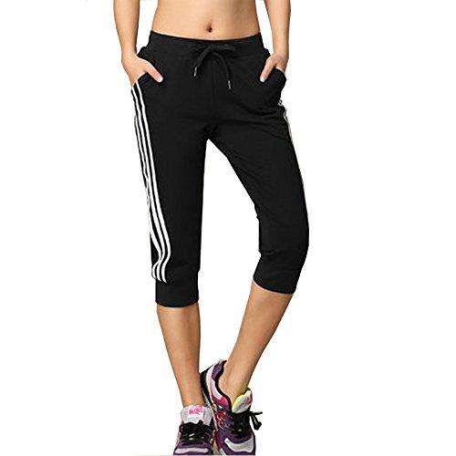 DOXUNGO Freizeithose, 3/4 Länge Hose, Fitnesshose, dünne Sporthose, Pilateshose Yogahose für Sommer (schwarz, L)