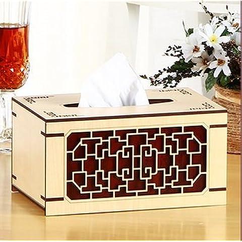 YUENLONG Cina creativa del vento igienico scatola di aspirazione scatola di legno soggiorno , Home disegnare il vassoio di pino Tela opaca