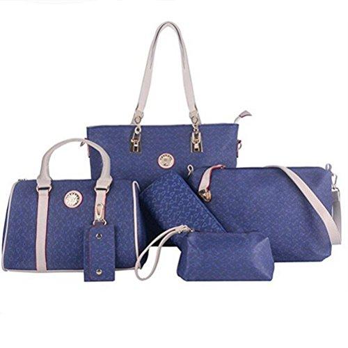 Honeymall Borse Donna,borse tote donna set 6 pezzi Nero Blu