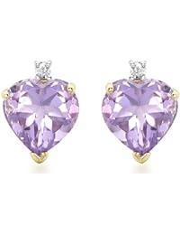 Carissima Gold Damen-Ohrstecker 9ct 0.01ct Diamond Amethyst Heart Stud Earrings 375 Gelbgold Diamant (0.03 ct) weiß Rundschliff Amethyst - 1.58.352A