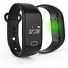 POSMA SBH202A Pulsera Inteligente Fitness de Ritmo Cardíaco que Controla el Rendimiento/Ejercicio, Resistente al Agua, con Bluetooth,  para Android IOS, Monitor del Sueño y Podómetro